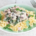 Ham mushroom and spinach farfalle 120x120 - Pigeon with mushroom and white wine sauce