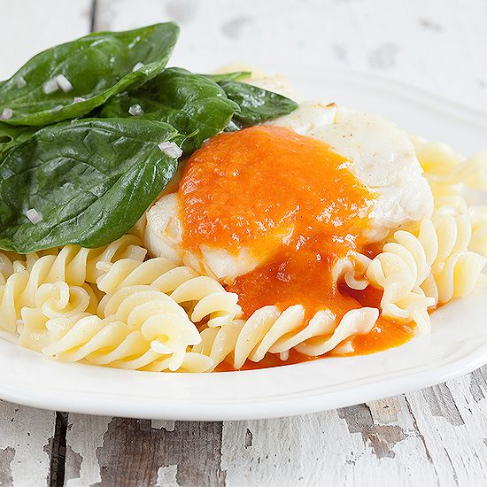Cod with roasted red bell pepper sauce