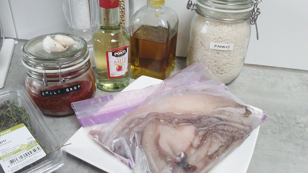 Marinated squid ingredients