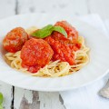 Spaghetti with mozzarella stuffed meatballs 120x120 - Oven baked meatballs in tomato sauce and mozzarella
