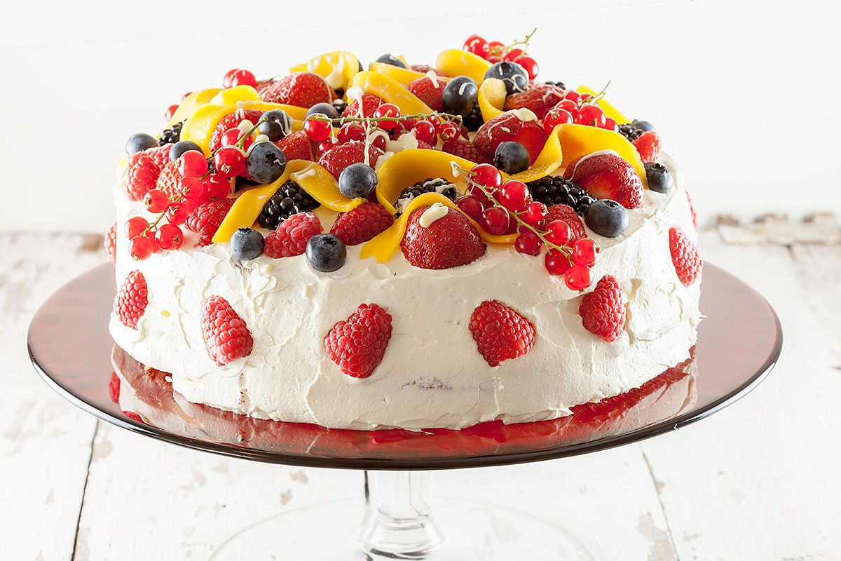 Summer fruit celebration cake
