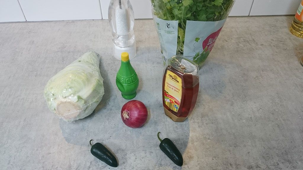 Shredded geen cabbage salad ingredients