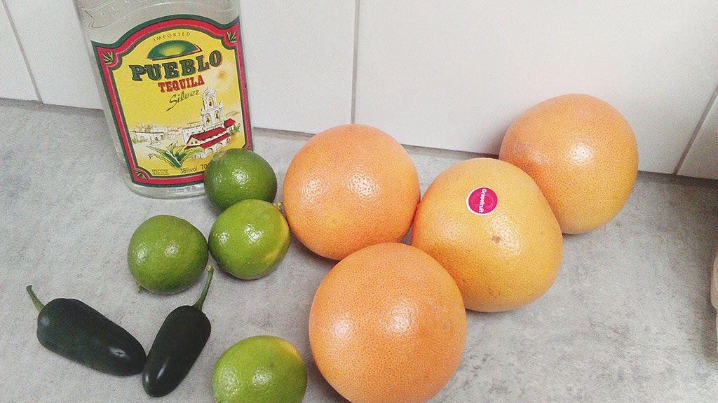 Spicy grapefruit cocktail ingredients