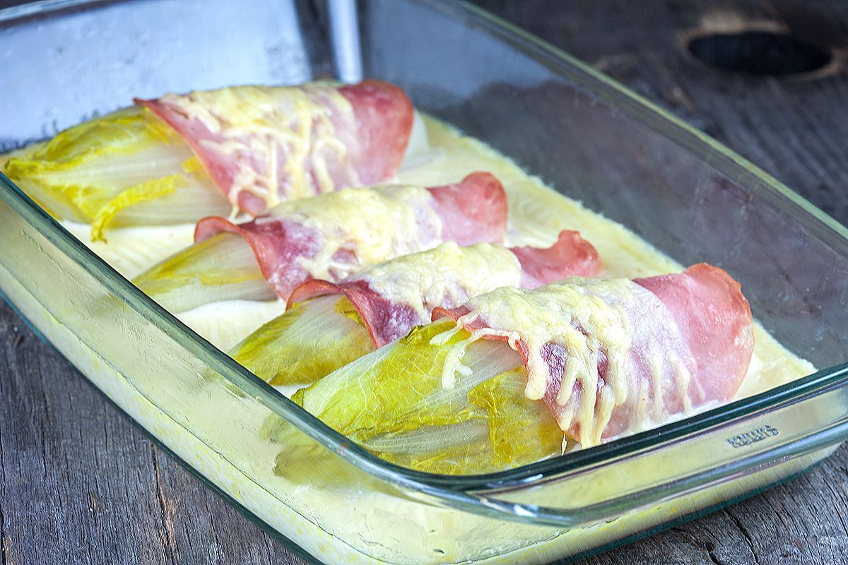 Chicory with ham and cheese sauce 2 - Chicory with ham and cheese sauce