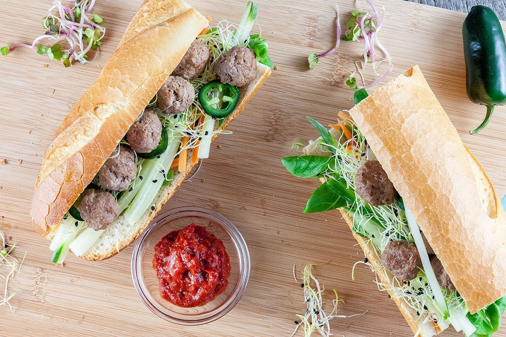 Mini meatballs sandwich