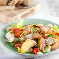 Peach and chicken salad 120x120 - Cod and apple salad