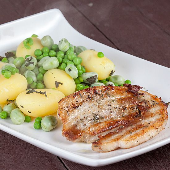 Pork belly slices and broad bean potato salad square - Pork belly slices and broad bean potato salad