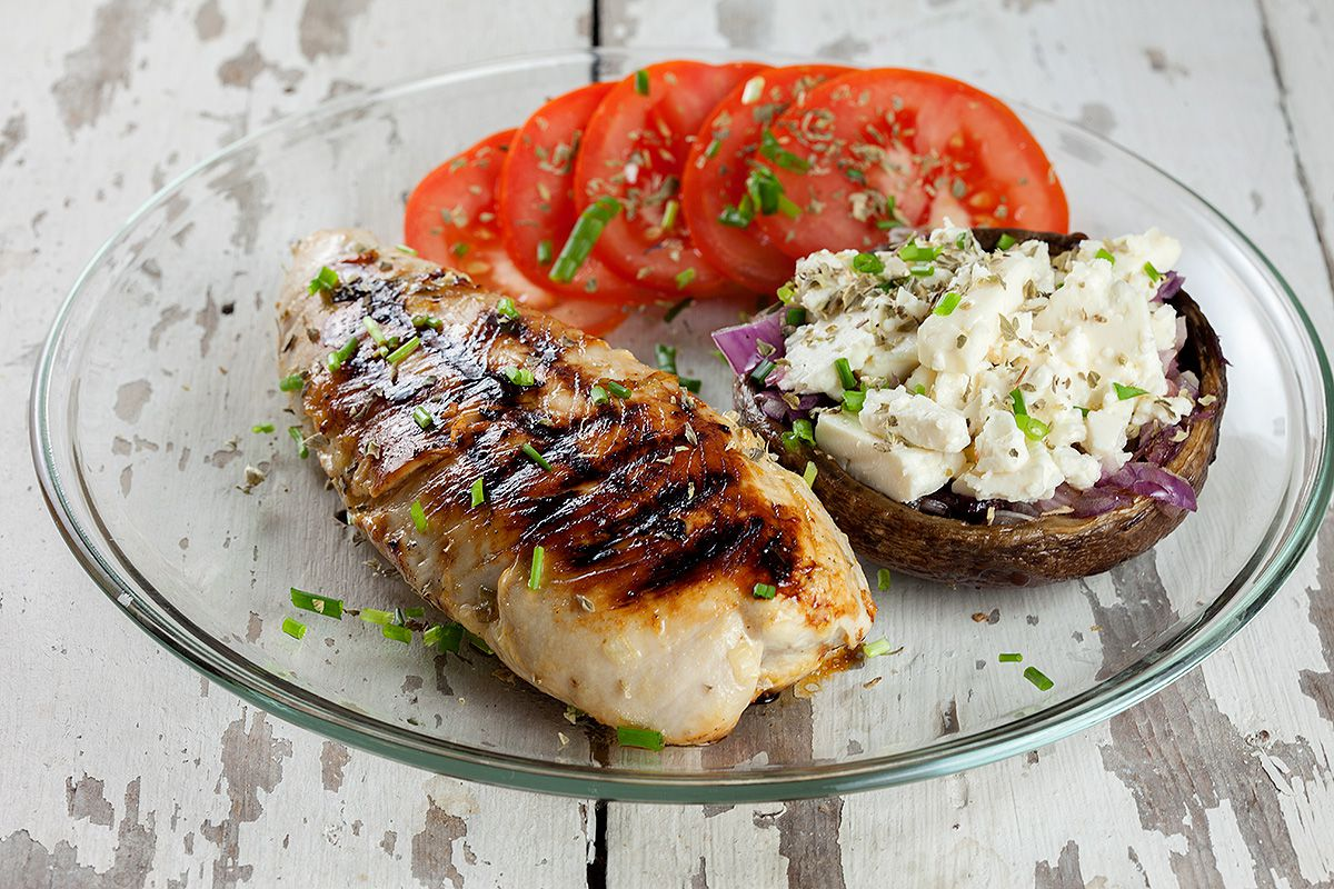 Turkey breast with stuffed mushroom