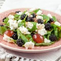 Wild blackberry salad 120x120 - Wild blackberry crostini with goat cheese