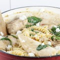 Creamy chicken pesto pasta 120x120 - Chicken and pesto pasta with almonds
