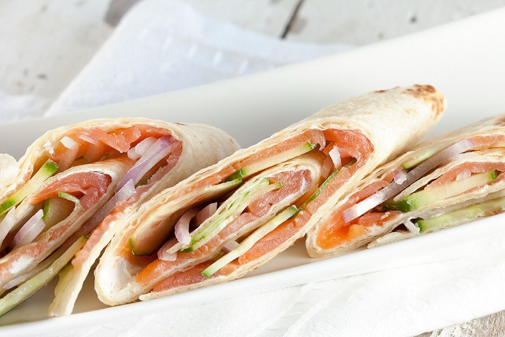 Smoked salmon wraps
