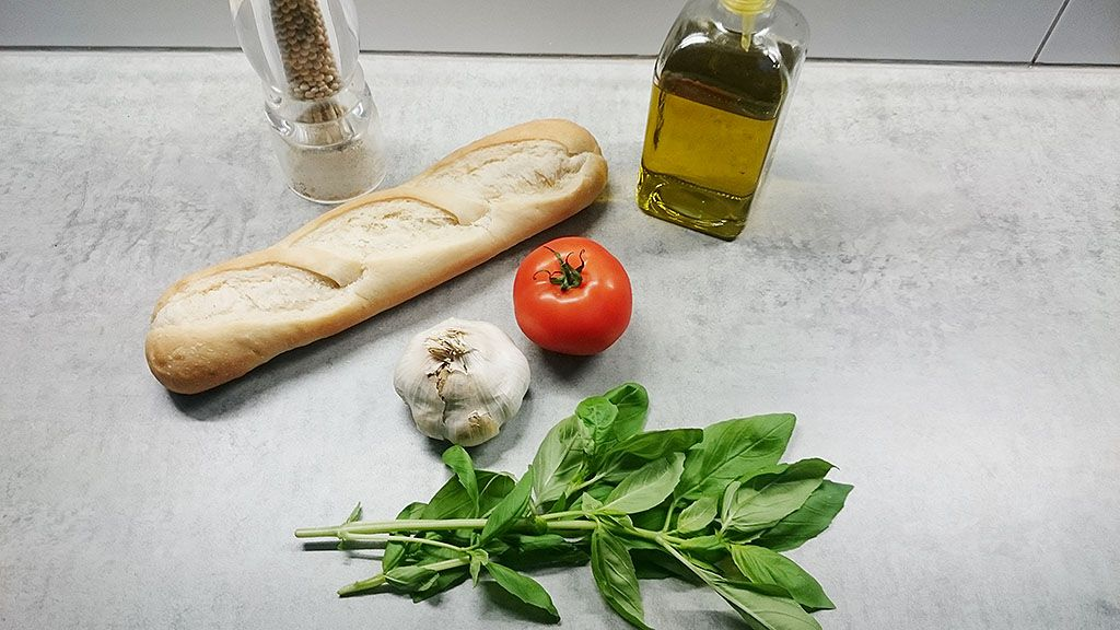 Tomato and basil bruschetta ingredients