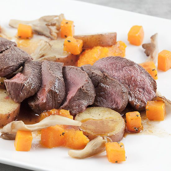 Venison with roseval potatoes and pumpkin square - Venison with roseval potatoes and pumpkin