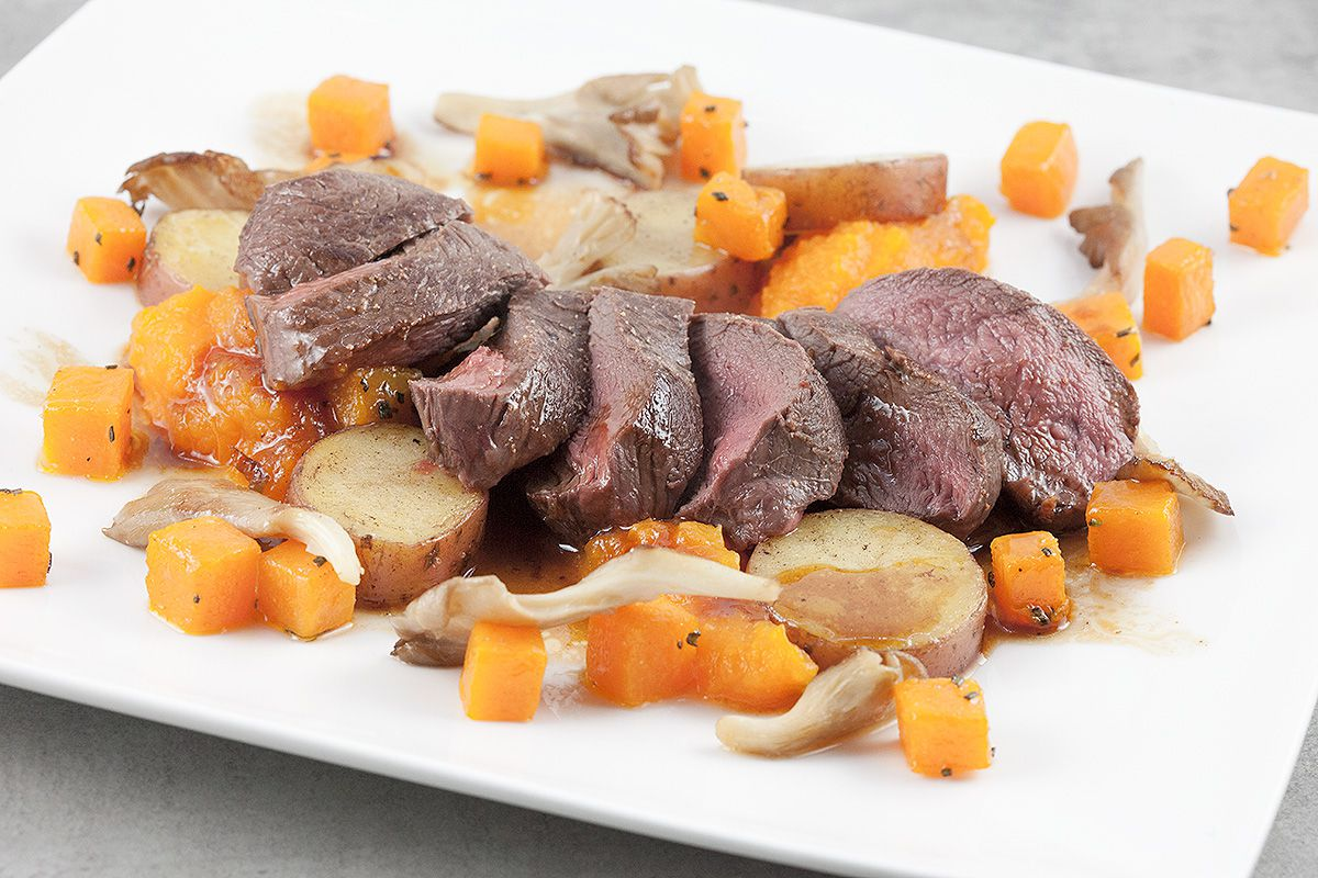 Venison with roseval potatoes and pumpkin