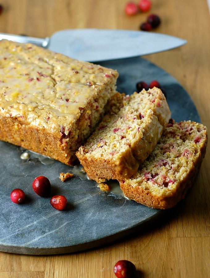 Healthy cranberry orange kefir cake