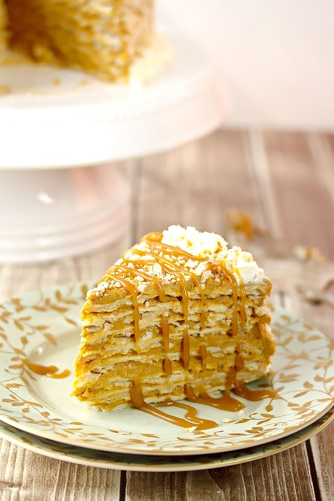 Spiced pumpkin napoleon salted caramel with rum