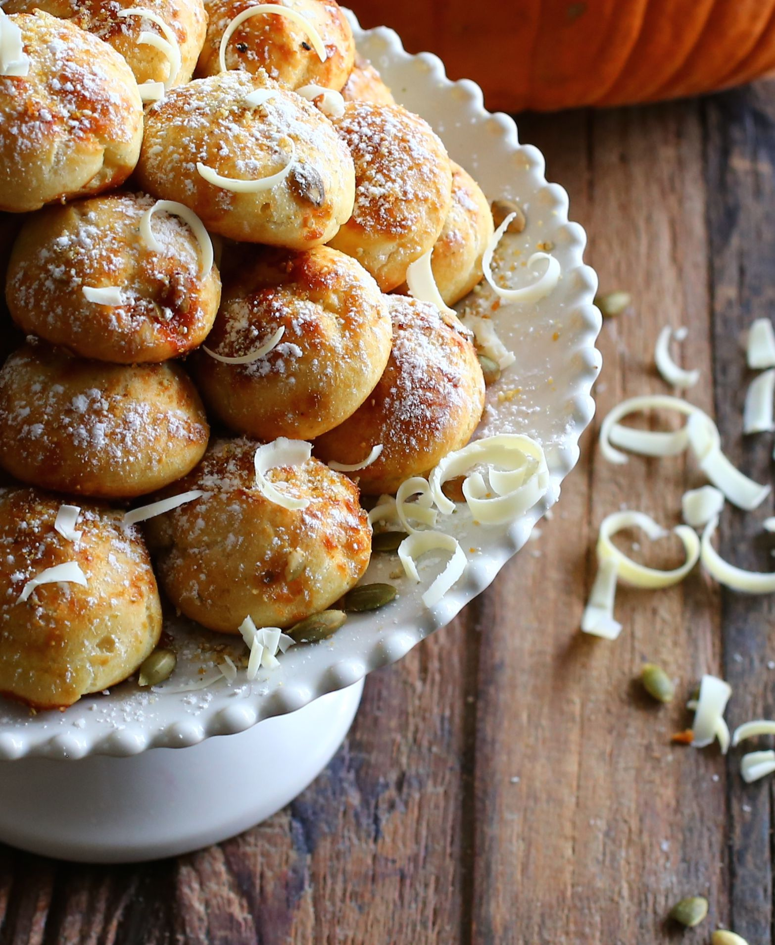 Pumpkin and white chocolate cream puffs