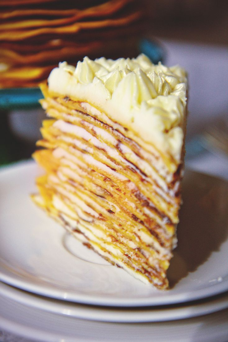 Pumpkin cream cheese crepe cake