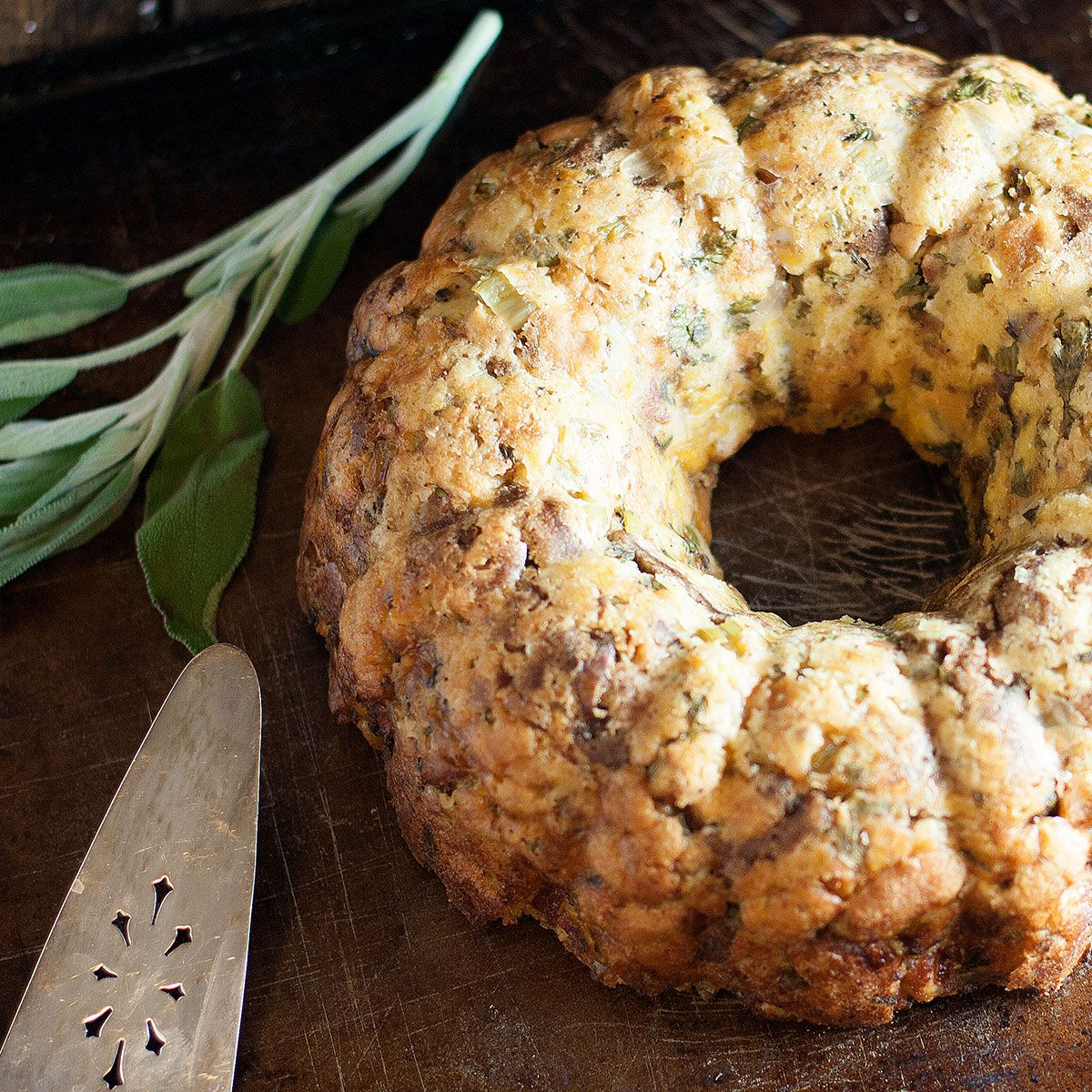 Stuffing in a bundt pan