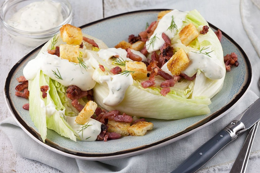Iceberg quarters with grilled bacon and croutons