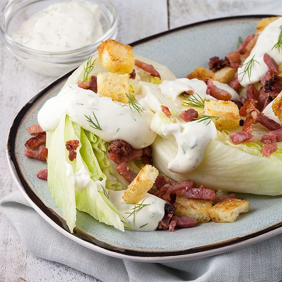 Iceberg quarters with grilled bacon and croutons square - Iceberg quarters with grilled bacon and croutons