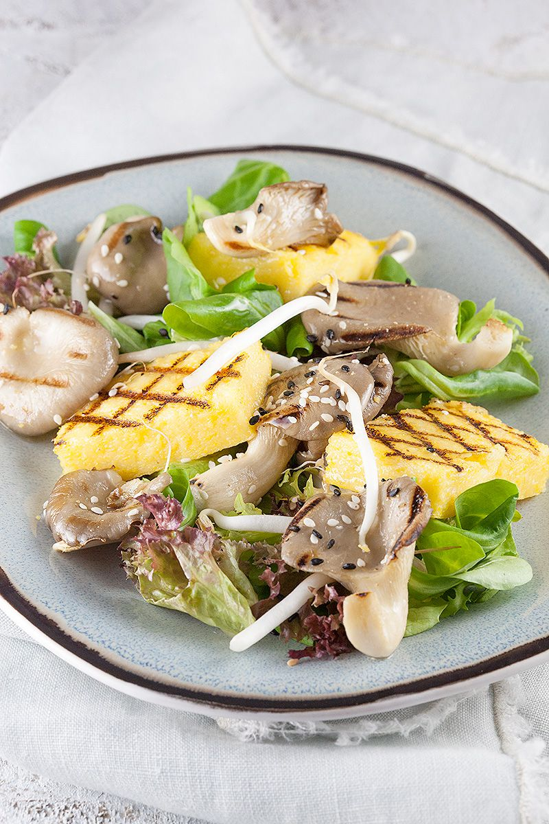 Oyster mushrooms and polenta salad 2 - Oyster mushrooms and polenta salad