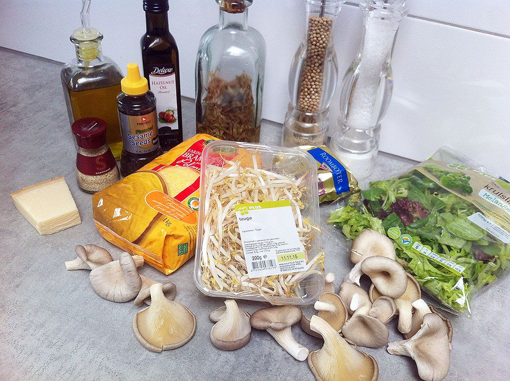 Oyster mushrooms and polenta salad ingredients - Oyster mushrooms and polenta salad