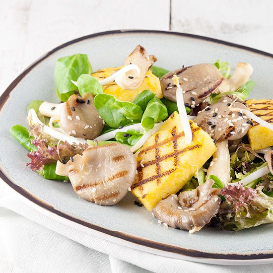 Oyster mushrooms and polenta salad square - Oyster mushrooms and polenta salad