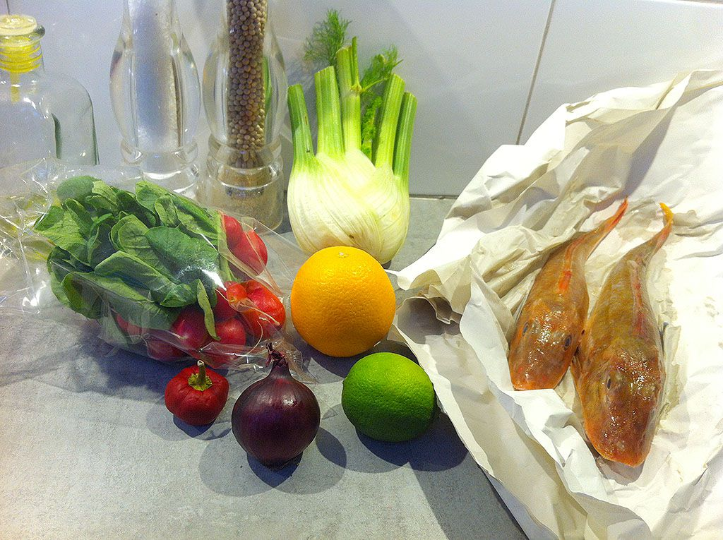 Pan-fried gurnard salad ingredients
