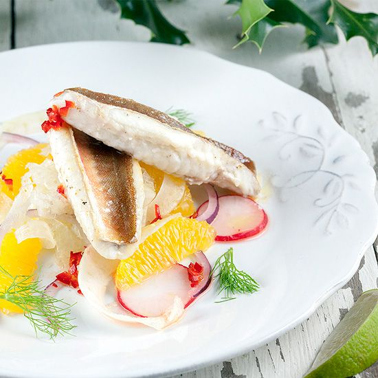 Pan-fried gurnard salad