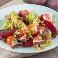 Red beet with figs salad 120x120 - Steak and red beet chips salad