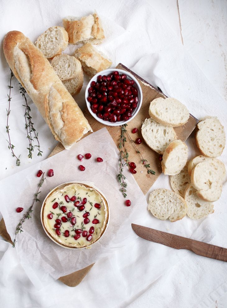 Pomegranate and thyme baked camambert