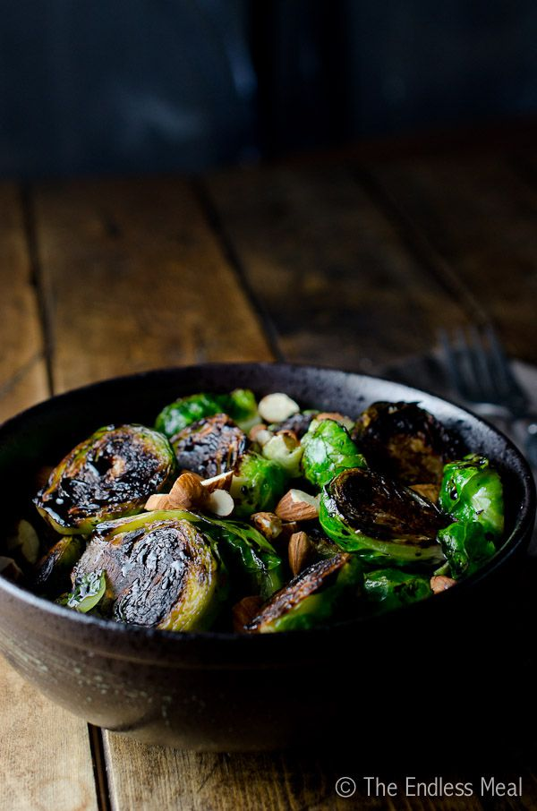 Pan seared brussels sprouts with toasted almond and balsamic vinegar