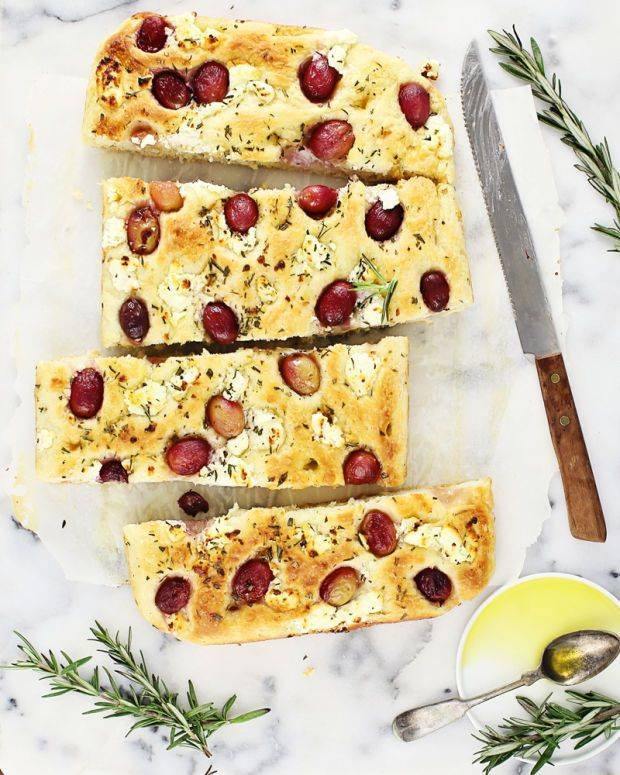 Goat cheese with red grapes rosemary focaccia