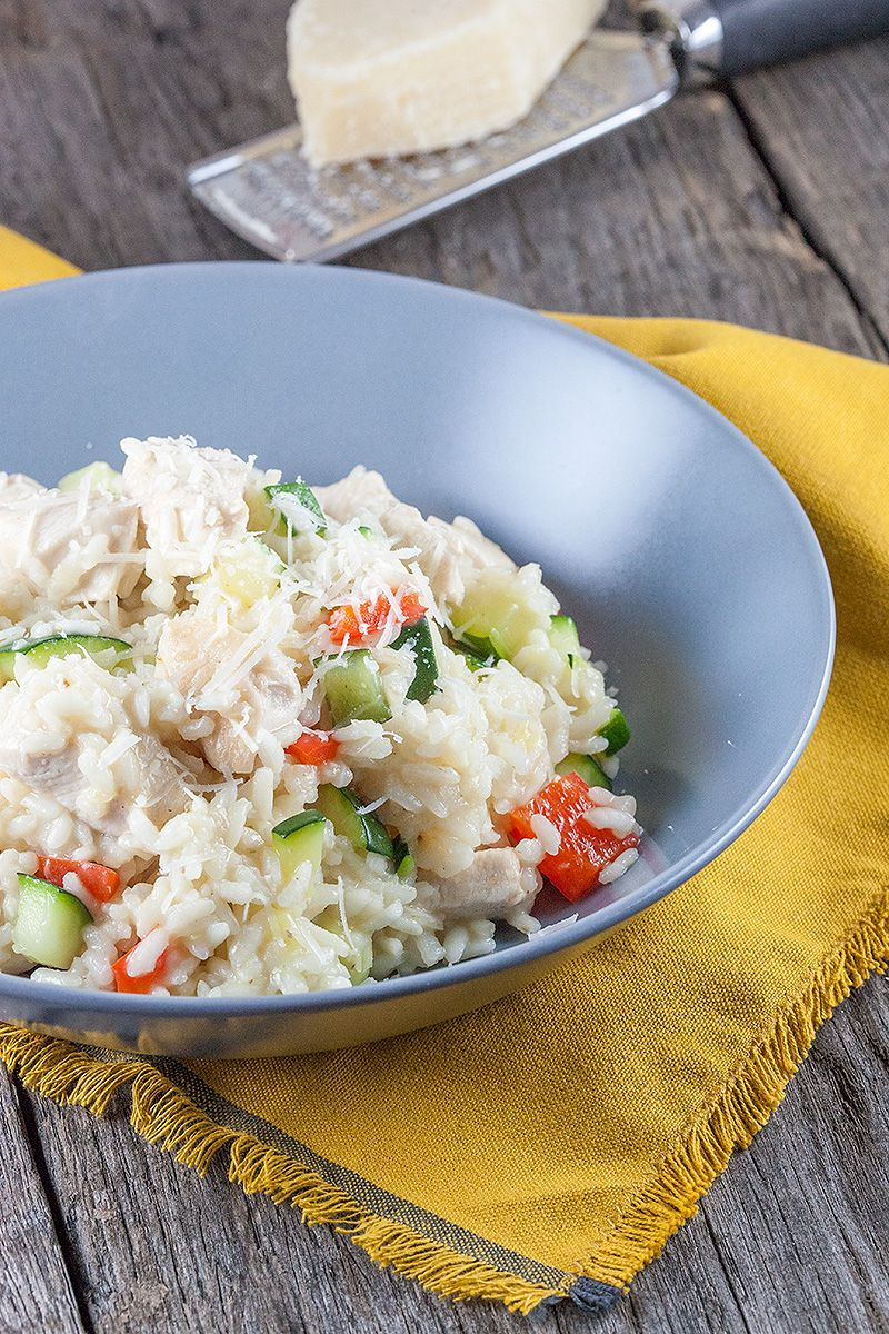 Cheesy risotto with chicken and zucchini