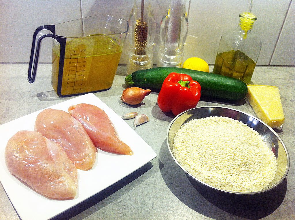 Cheesy risotto with chicken and zucchini ingredients