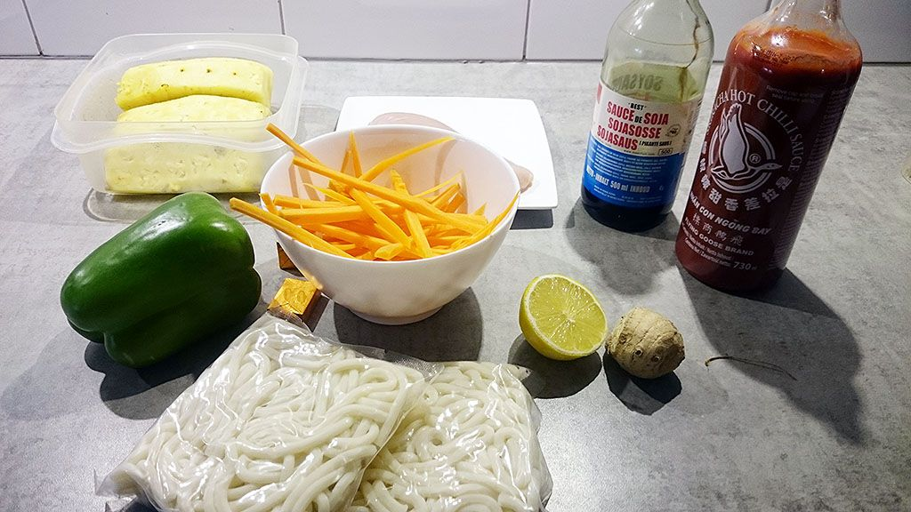 Japanese pineapple udon noodle soup ingredients