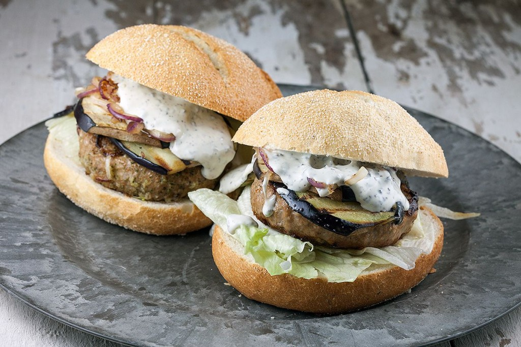 Lamb burger with truffle mayonnaise