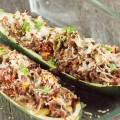 Minced meat stuffed zucchini boats