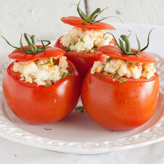 Stuffed beefsteak tomato with feta cheese