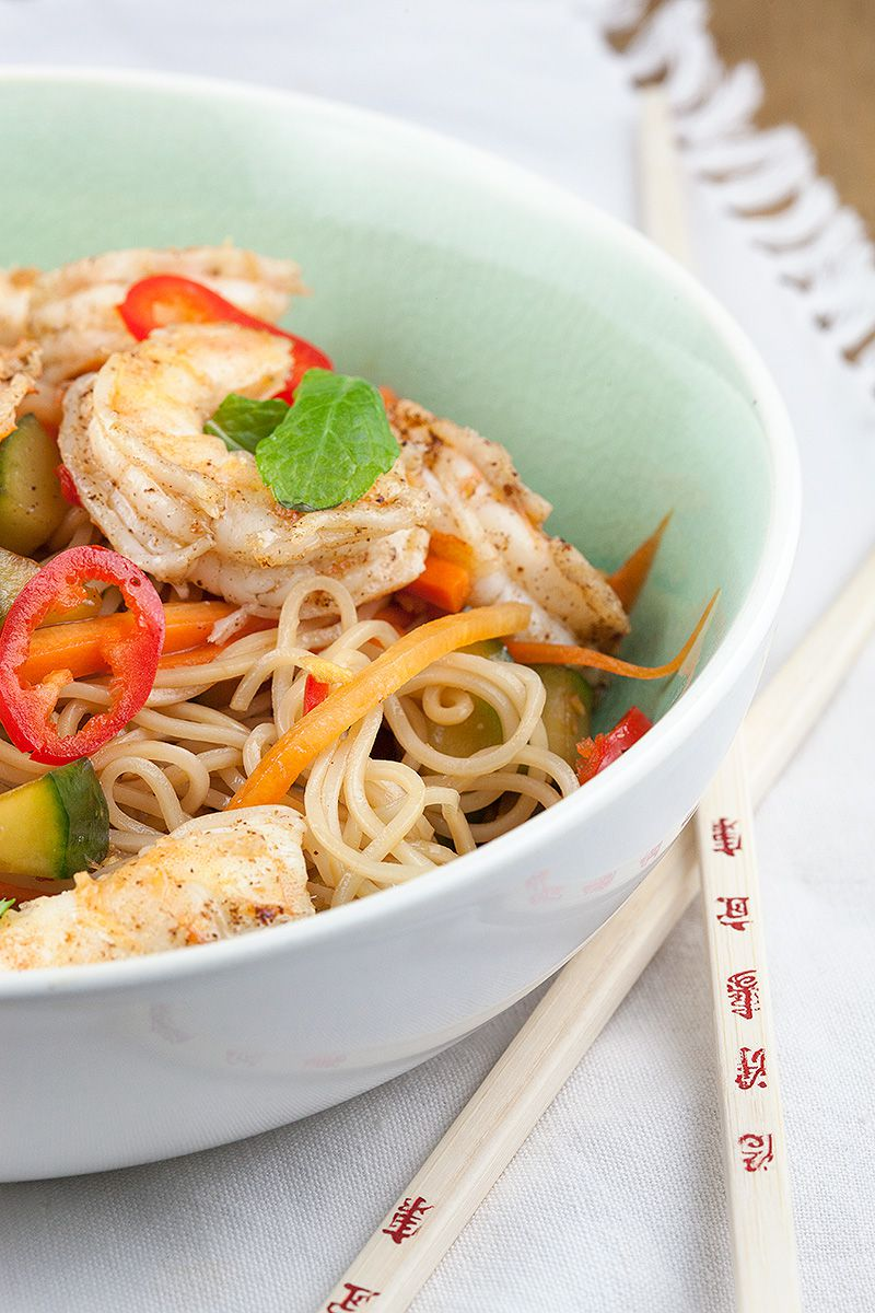 Asian noodle and shrimp salad