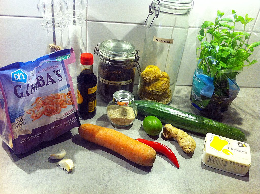 Asian noodle and shrimp salad ingredients
