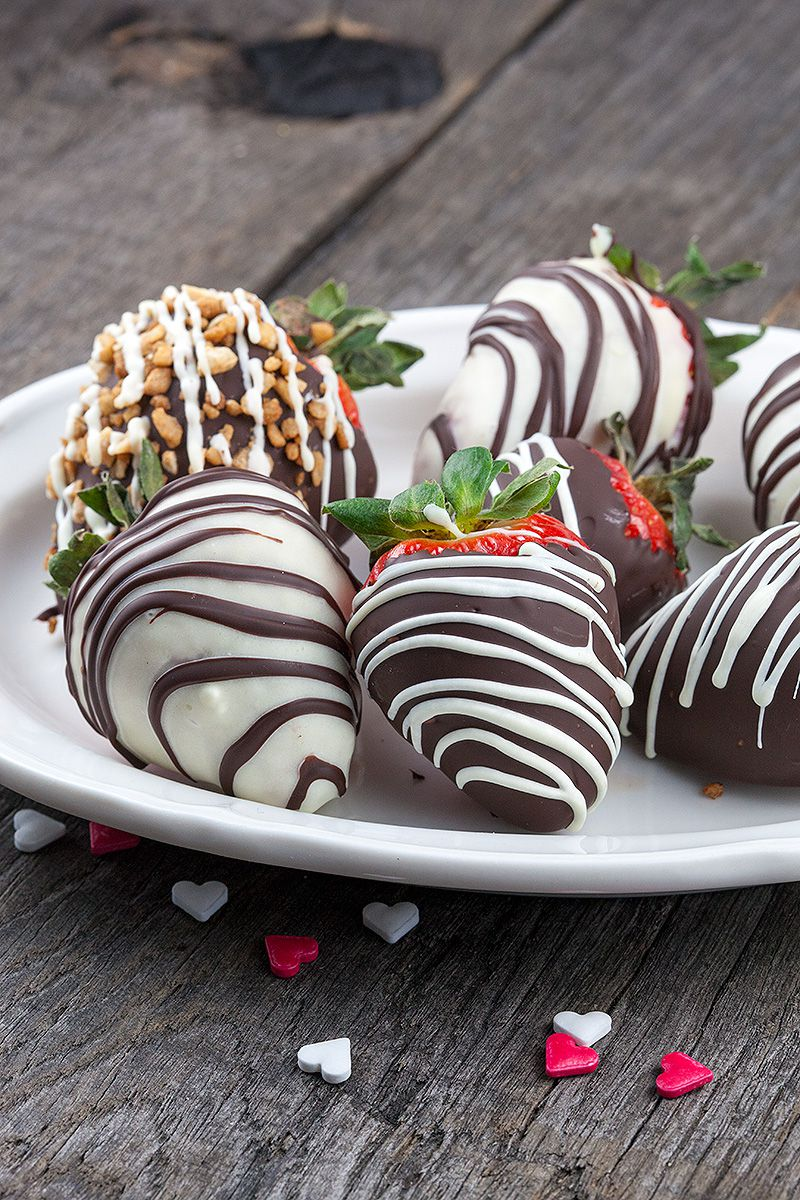 Chocolate dipped swizzled strawberries