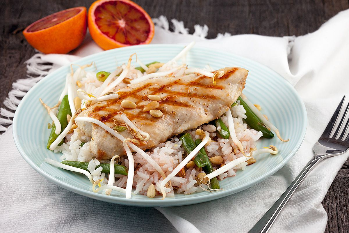 Grilled turkey breast with blood orange dressing