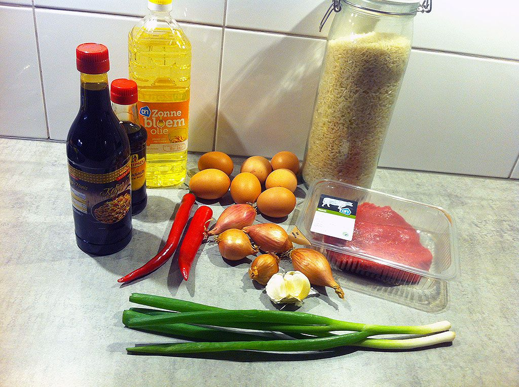 Indonesian nasi goreng ingredients - Indonesian nasi goreng