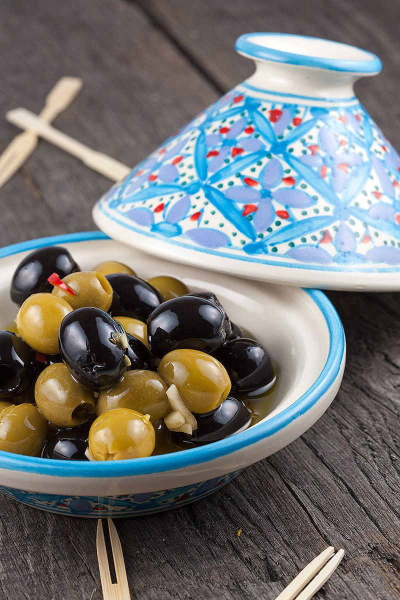 Overnight marinated olives