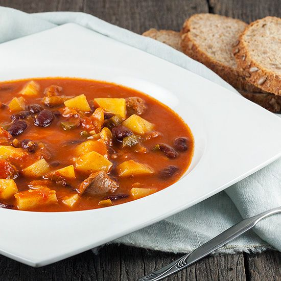 Vegetable bean and sausage soup square - Vegetable, bean and sausage soup