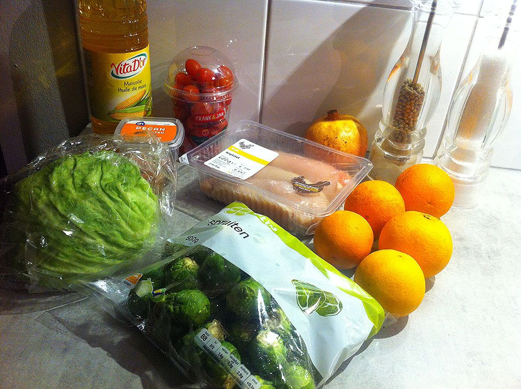 Chicken and Brussels sprouts salad ingredients