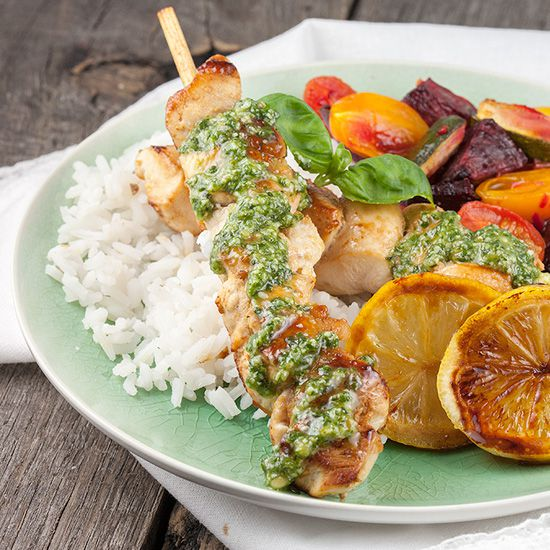 Lemon chicken with rice and pesto