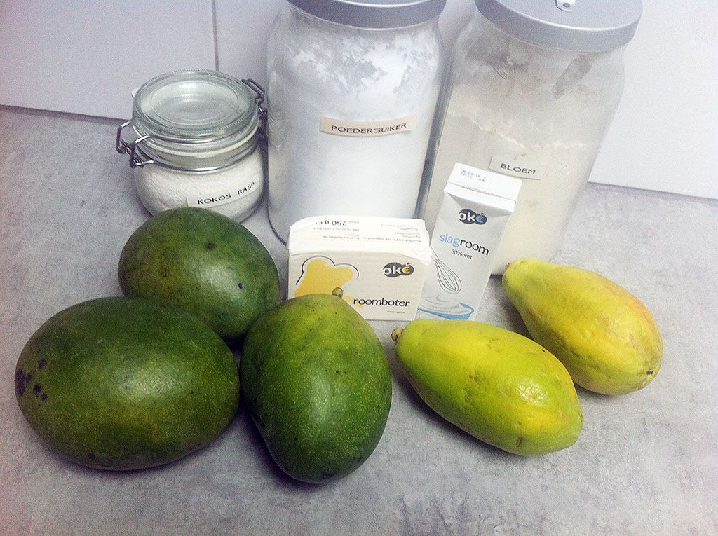 Mango papaya and coconut pie ingredients